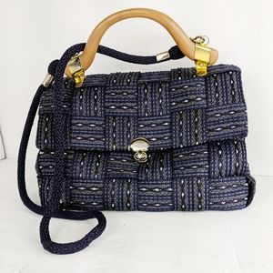 Vintage Woven Blue Handbag Handle Shoulder Strap
